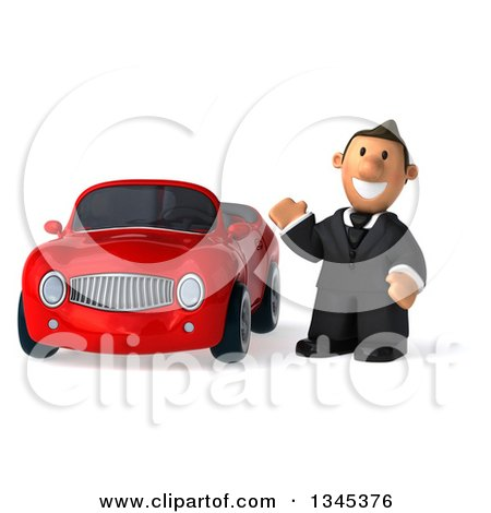 Clipart of a 3d Short White Businessman Waving by a Red Convertible Car - Royalty Free Illustration by Julos
