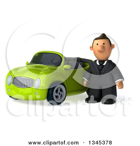 Clipart of a 3d Short White Businessman by a Green Convertible Car - Royalty Free Illustration by Julos