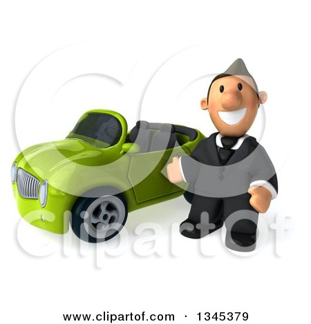 Clipart of a 3d Short White Businessman Presenting by a Green Convertible Car - Royalty Free Illustration by Julos
