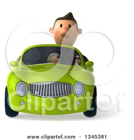 Clipart of a 3d Short White Businessman Driving a Green Convertible Car - Royalty Free Illustration by Julos