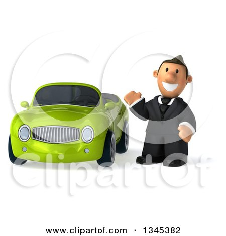 Clipart of a 3d Short White Businessman Waving by a Green Convertible Car - Royalty Free Illustration by Julos