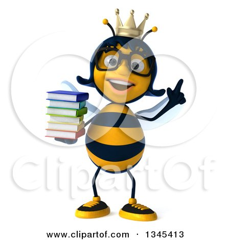 Clipart of a 3d Happy Bespectacled Queen Bee Holding up a Finger and a Stack of Books - Royalty Free Illustration by Julos