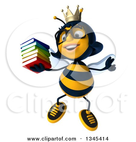 Clipart of a 3d Happy Bespectacled Queen Bee Jumping and Holding a Stack of Books - Royalty Free Illustration by Julos