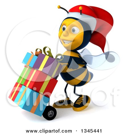 Clipart of a 3d Happy Male Bee Walking to the Left, Moving Christmas Gifts on the Dolly - Royalty Free Illustration by Julos