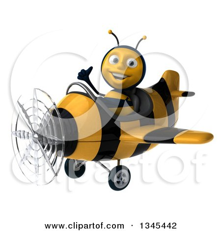 Clipart of a 3d Happy Male Aviator Pilot Bee Giving a Thumb up and Flying a Yellow and Black Striped Airplane Slightly to the Left - Royalty Free Illustration by Julos