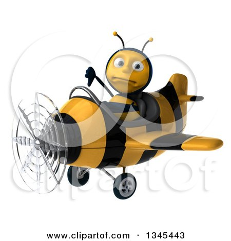 Clipart of a 3d Unhappy Male Aviator Pilot Bee Giving a Thumb down and Flying a Yellow and Black Striped Airplane Slightly to the Left - Royalty Free Illustration by Julos