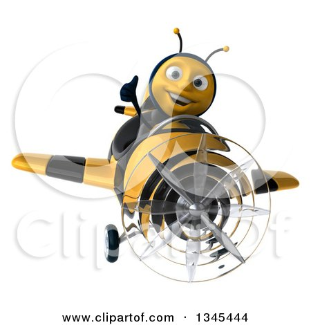 Clipart of a 3d Happy Male Aviator Pilot Bee Giving a Thumb up and Flying a Yellow and Black Striped Airplane - Royalty Free Illustration by Julos