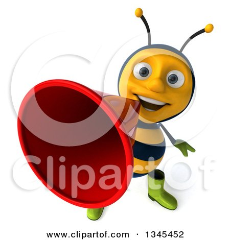 Clipart of a 3d Happy Male Gardener Bee Announcing Upwards with a Megaphone - Royalty Free Illustration by Julos