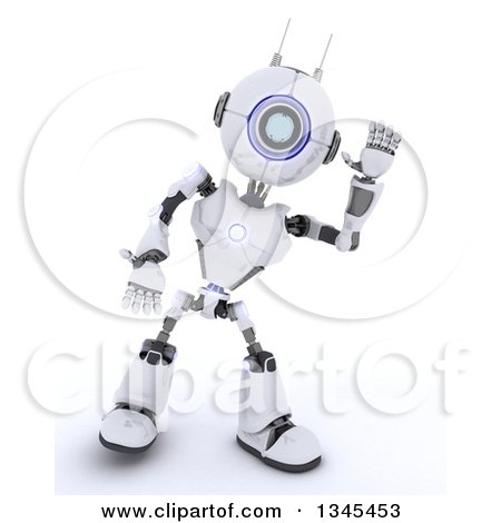Clipart of a 3d Futuristic Robot Listening, on a Shaded White Background - Royalty Free Illustration by KJ Pargeter