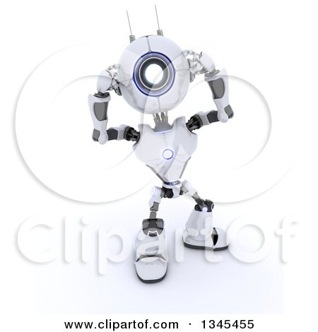 Clipart of a 3d Futuristic Robot Covering His Ears, on a Shaded White Background - Royalty Free Illustration by KJ Pargeter