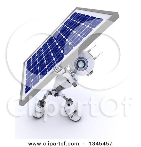 Clipart of a 3d Futuristic Robot Carrying a Solar Panel, on a Shaded White Background - Royalty Free Illustration by KJ Pargeter