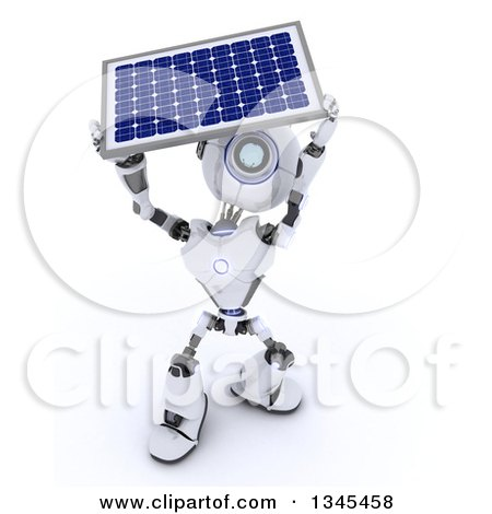 Clipart of a 3d Futuristic Robot Carrying a Solar Panel, on a Shaded White Background 2 - Royalty Free Illustration by KJ Pargeter