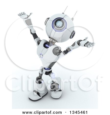 Clipart of a 3d Futuristic Robot Worshipping, on a Shaded White Background - Royalty Free Illustration by KJ Pargeter