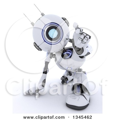 Clipart of a 3d Futuristic Robot Crouching and Reaching Outwards, on a Shaded White Background - Royalty Free Illustration by KJ Pargeter