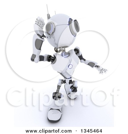 Clipart of a 3d Futuristic Robot Cupping and Listening or Shouting, on a Shaded White Background - Royalty Free Illustration by KJ Pargeter