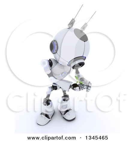 Clipart of a 3d Futuristic Robot Protecting a Seedling Plant, on a Shaded White Background - Royalty Free Illustration by KJ Pargeter