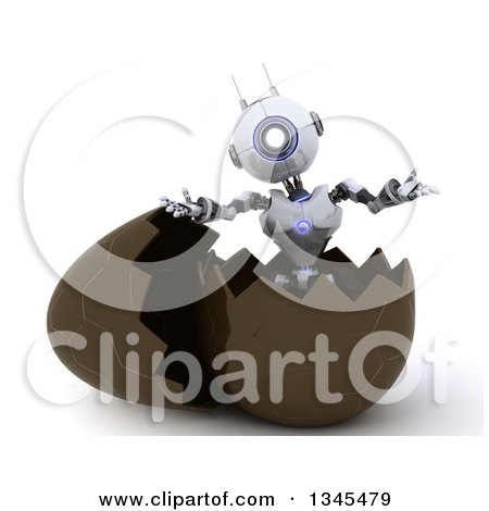 Clipart of a 3d Futuristic Robot Popping out of a Chocolate Easter Egg, on a Shaded White Background - Royalty Free Illustration by KJ Pargeter