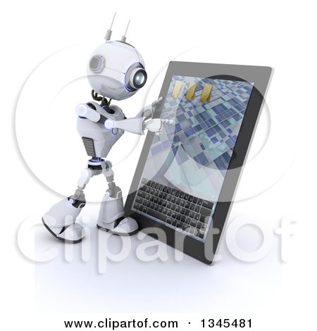 Clipart of a 3d Futuristic Robot Using a Tablet Computer, on a Shaded White Background - Royalty Free Illustration by KJ Pargeter