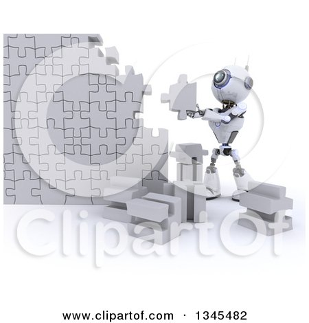 Clipart of a 3d Futuristic Robot Building a Jigsaw Puzzle Piece Wall, on a Shaded White Background - Royalty Free Illustration by KJ Pargeter