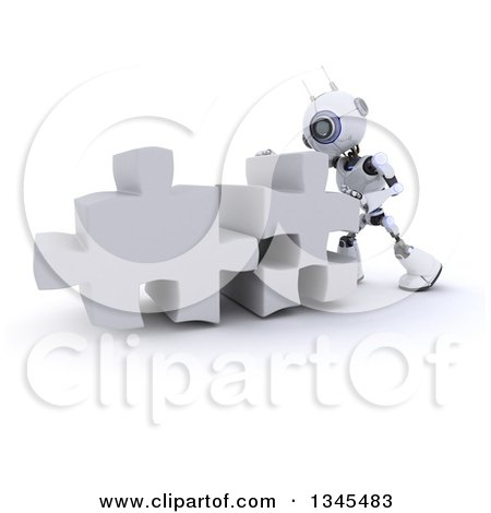 Clipart of a 3d Futuristic Robot Pushing Two Giant Puzzle Pieces Together, on a Shaded White Background - Royalty Free Illustration by KJ Pargeter