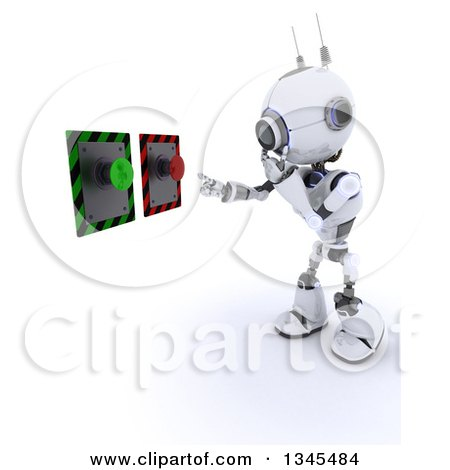 Clipart of a 3d Futuristic Robot Thinking of White Button to Push, on a Shaded White Background - Royalty Free Illustration by KJ Pargeter