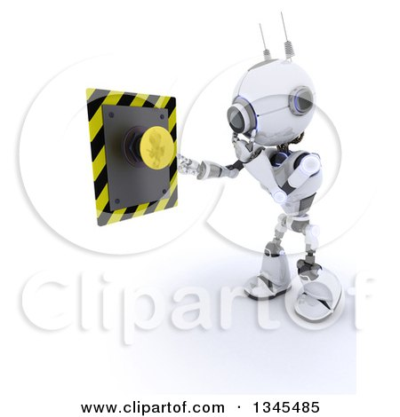 Clipart of a 3d Futuristic Robot Thinking About Pushing a Yellow Button, on a Shaded White Background - Royalty Free Illustration by KJ Pargeter