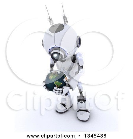 Clipart of a 3d Futuristic Robot Holding and Looking down at Planet Earth, on a Shaded White Background - Royalty Free Illustration by KJ Pargeter