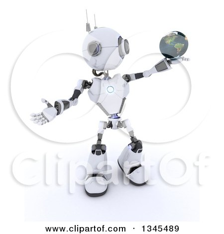 Clipart of a 3d Futuristic Robot Holding and Presenting Planet Earth, on a Shaded White Background - Royalty Free Illustration by KJ Pargeter