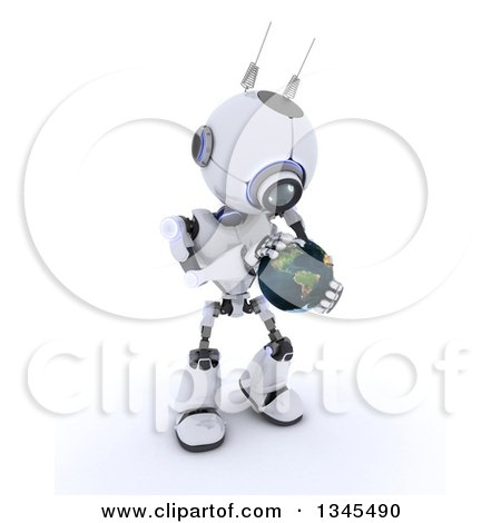 Clipart of a 3d Futuristic Robot Holding and Touching Planet Earth, on a Shaded White Background - Royalty Free Illustration by KJ Pargeter