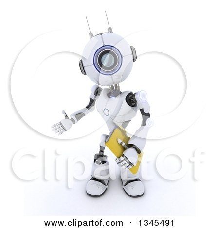 Clipart of a 3d Futuristic Robot Presenting and Holding a File Folder, on a Shaded White Background - Royalty Free Illustration by KJ Pargeter