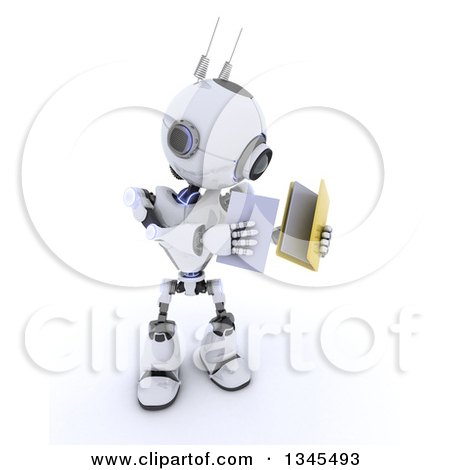 Clipart of a 3d Futuristic Robot Putting a Document in a File Folder, on a Shaded White Background - Royalty Free Illustration by KJ Pargeter