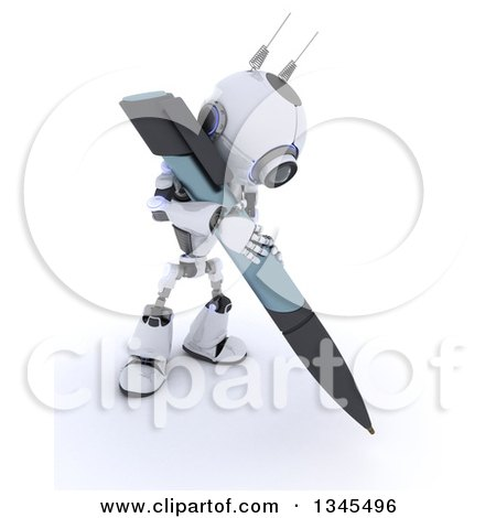 Clipart of a 3d Futuristic Robot Writing with a Giant Pen, on a Shaded White Background - Royalty Free Illustration by KJ Pargeter