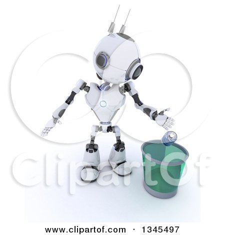 Clipart of a 3d Futuristic Robot Tossing a Can in a Transparent Recycle Bin, on a Shaded White Background - Royalty Free Illustration by KJ Pargeter