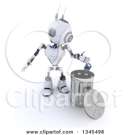 Clipart of a 3d Futuristic Robot Tossing a Can in a Metal Recycle Bin, on a Shaded White Background - Royalty Free Illustration by KJ Pargeter