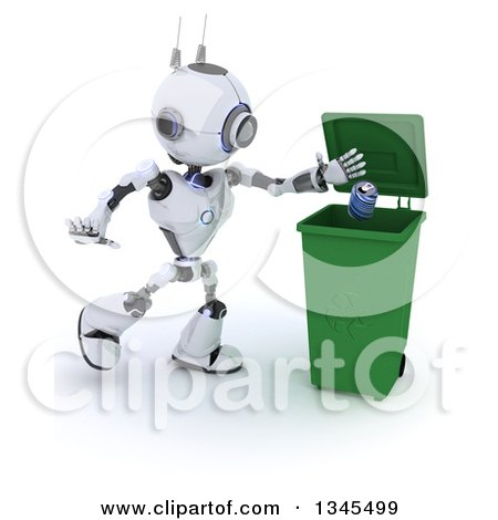 Clipart of a 3d Futuristic Robot Tossing a Can in a Green Recycle Bin, on a Shaded White Background - Royalty Free Illustration by KJ Pargeter