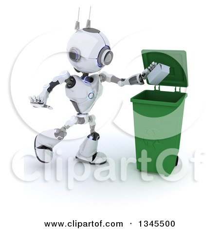 Clipart of a 3d Futuristic Robot Tossing a Carton in a Green Recycle Bin, on a Shaded White Background - Royalty Free Illustration by KJ Pargeter