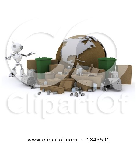 Clipart of a 3d Futuristic Robot Presenting Recycle Bins, Items and a Globe, on a Shaded White Background - Royalty Free Illustration by KJ Pargeter