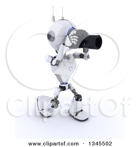 Clipart of a 3d Futuristic Robot Photographer Walking and Taking Pictures, on a Shaded White Background - Royalty Free Illustration by KJ Pargeter