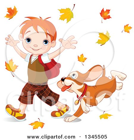 Clipart of a Cartoon Puppy Dog Following a and Caucasian School Boy As He Walks Through Autumn Leaves - Royalty Free Vector Illustration by Pushkin