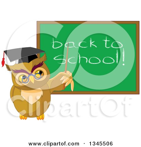 Clipart of a Cartoon Professor Owl Pointing to a Back to School Chalkboard - Royalty Free Vector Illustration by Pushkin