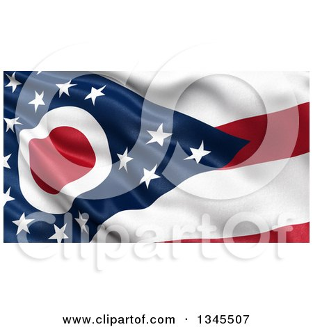 Clipart of a 3d Rippling State Flag of Ohio, USA - Royalty Free Illustration by stockillustrations