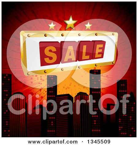 Clipart of a 3d Sale Sign with Stars over a City Skyline and Red Burst - Royalty Free Vector Illustration by elaineitalia