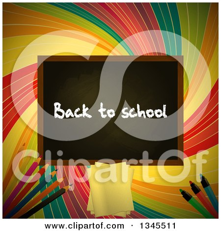 Clipart of a Back to School Black Board over a Colorful Retro Swirl with Pencils, Paper and Markers - Royalty Free Vector Illustration by elaineitalia