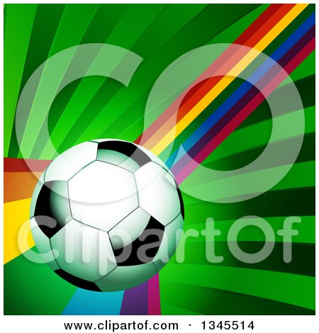 Clipart of a 3d Shiny Soccer Ball over a Curving Rainbow and Green Rays - Royalty Free Vector Illustration by elaineitalia