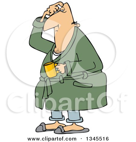 Clipart of a Cartoon Chubby White Man in His Robe, Scratching His Head and Holding a Coffee Mug - Royalty Free Vector Illustration by djart