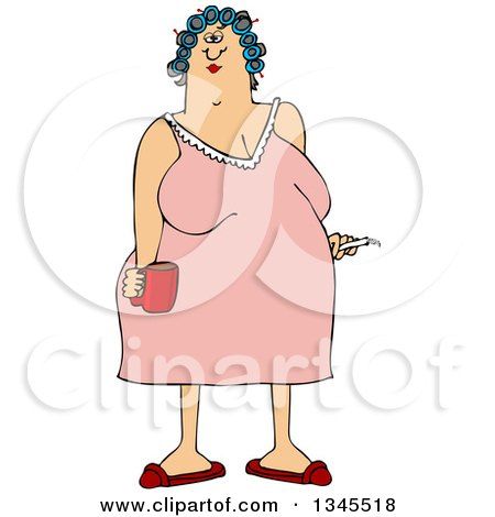 Clipart of a Cartoon Chubby White Woman in a Night Gown, Her Hair in Curlers, Smoking a Cigarette and Holding a Coffee Mug - Royalty Free Vector Illustration by djart
