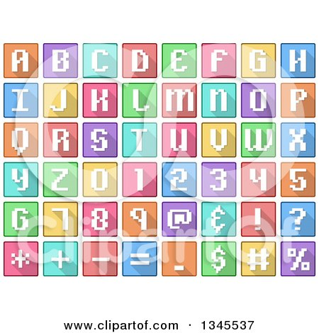 Clipart of Square Pixelated Colorful Number, Alphabet Letter and Symbol Icons - Royalty Free Vector Illustration by Liron Peer