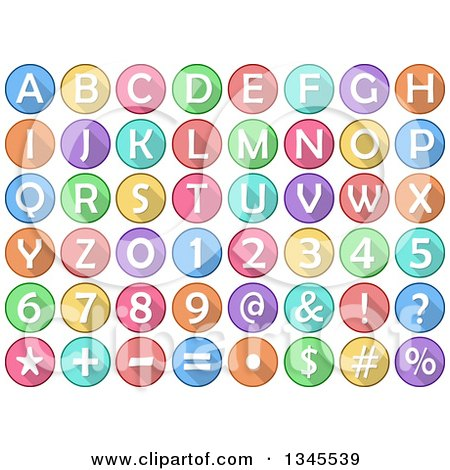 Clipart of Cartoon Round Colorful Number, Alphabet Letter and Symbol Icons - Royalty Free Vector Illustration by Liron Peer