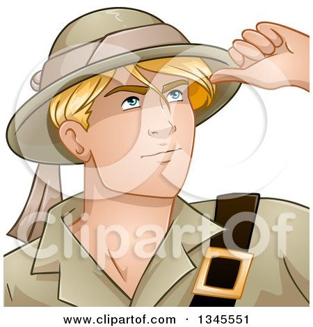 Clipart of a Cartoon Handsome Young Blond Caucasian Male Explorer Looking up - Royalty Free Vector Illustration by Liron Peer