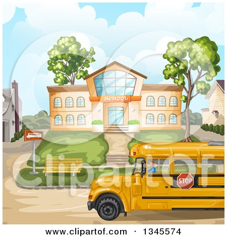 Clipart of a School Bus in Front of a Building - Royalty Free Vector Illustration by merlinul